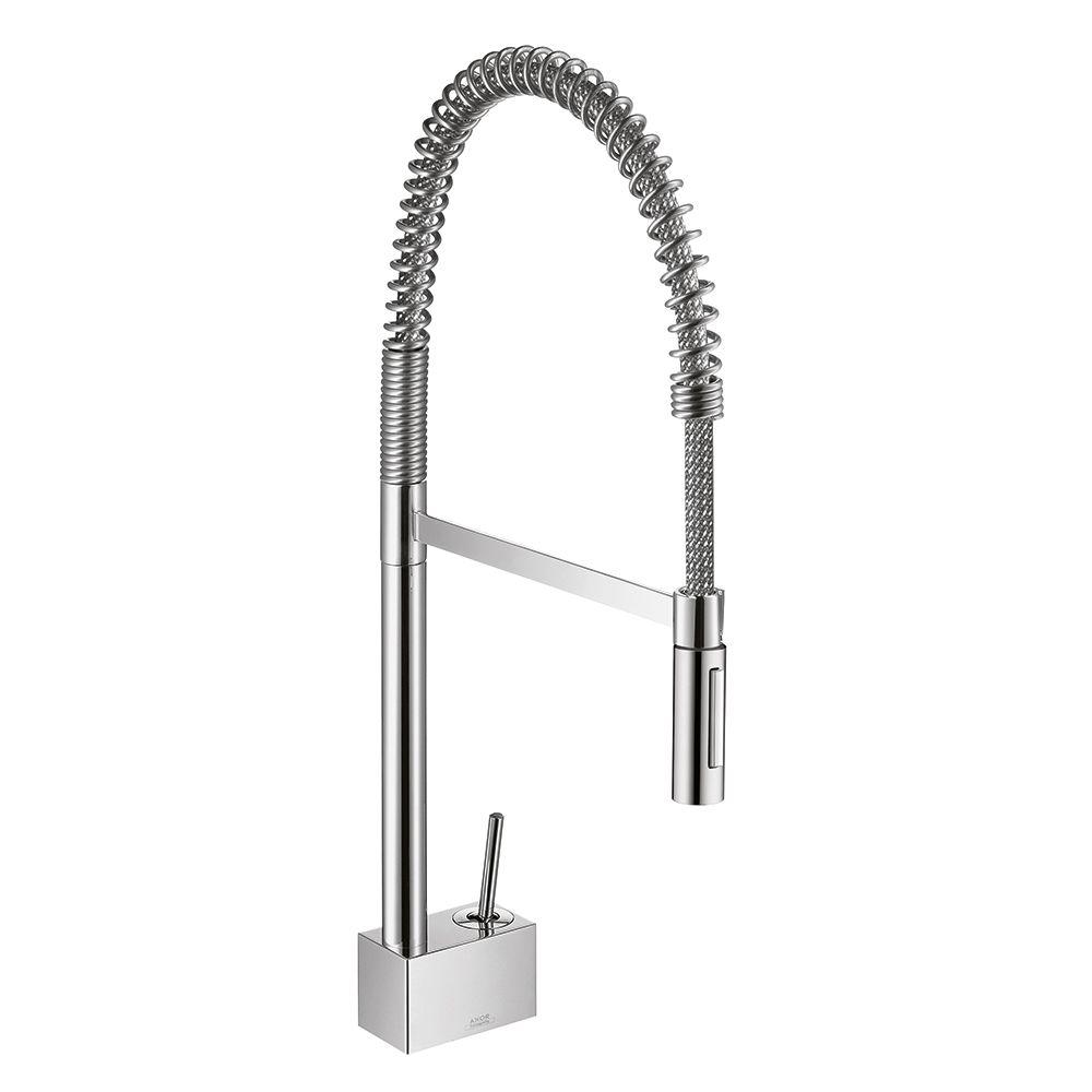 Hansgrohe Axor Starck Semi Pro Single Handle Pull Down Sprayer Kitchen Faucet In