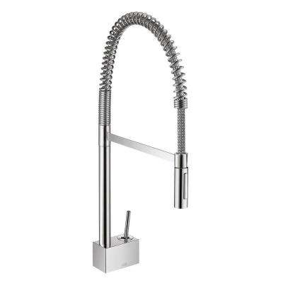 Axor Starck Semi-Pro Single-Handle Pull-Down Sprayer Kitchen Faucet in Chrome