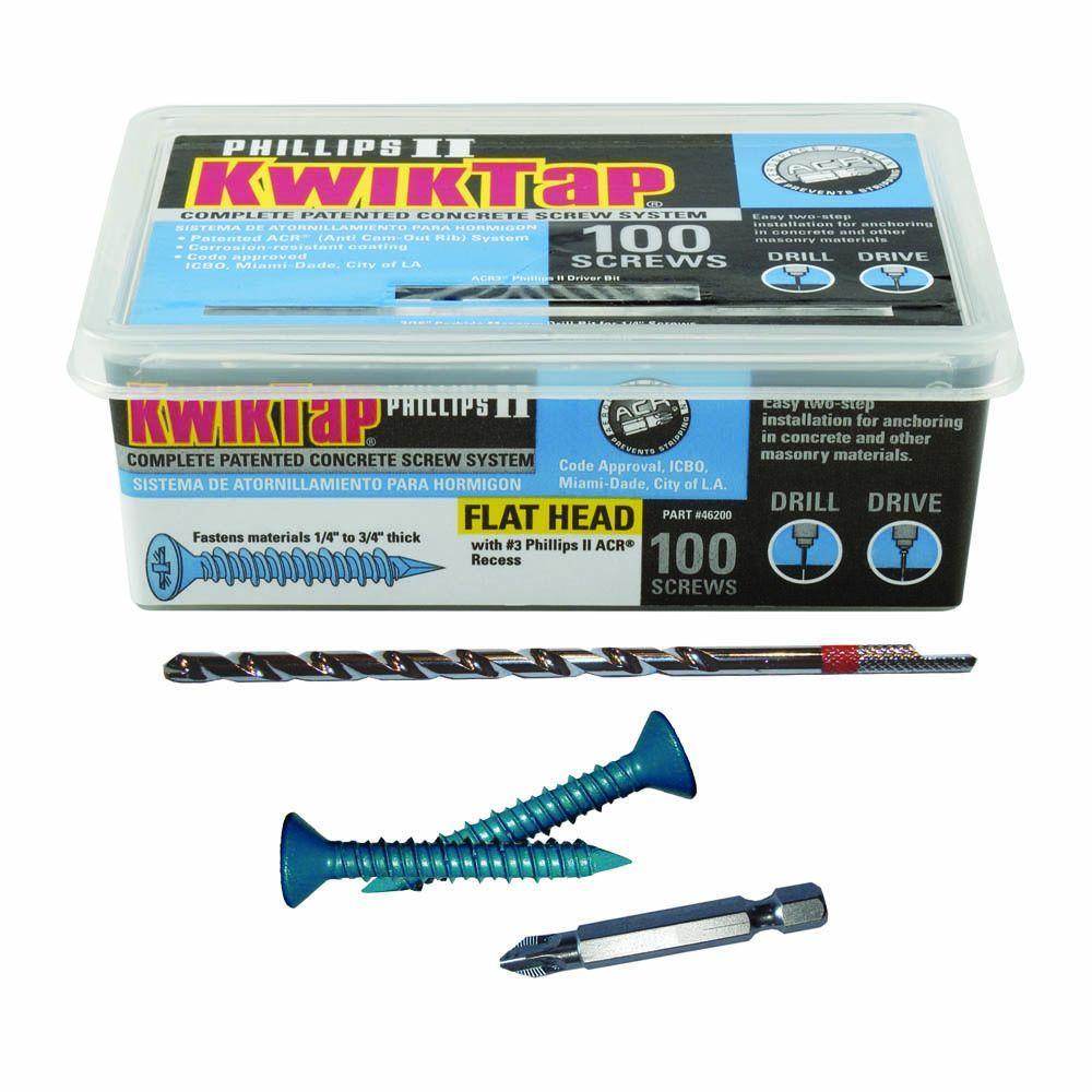KwikTap 1/4 in. x 1-3/4 in. Flat-Head Concrete Screws (100 per Pack)
