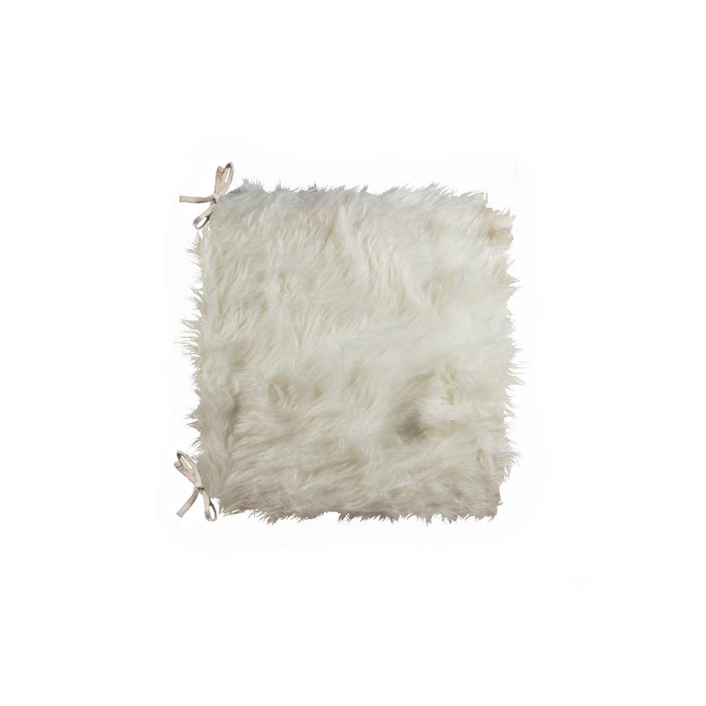 Laredo Off-White Faux Sheepskin Fur Chair Pad