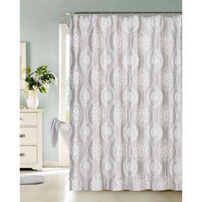 Monaco 70 in. Silver Heavy 3D Jacquard Shower Curtain