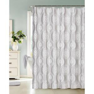 Monaco 70 inch Silver Heavy 3D Jacquard Shower Curtain by