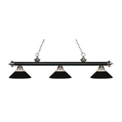 Makio 3-Light Matte Black and Brushed Nickel Island Light with Ribbed Glass and Matte Black Shades