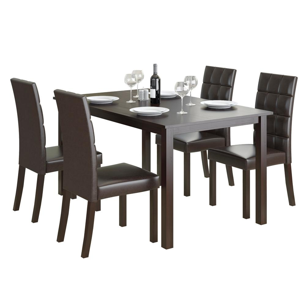 5 Pcs Dining Table Set With 4 Chairs Brown Wood Kitchen: CorLiving Atwood 5-Piece Dining Set With Dark Brown