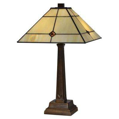 20 in. Tasman Sea 2-Light Antique Bronze Table Lamp with Tiffany Art Glass Shade