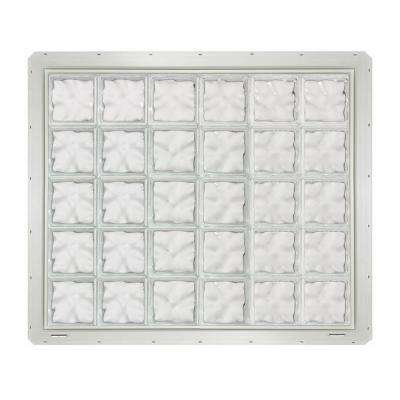 46.75 in. x 39.25 in. x 3.25 in. Wave Pattern Glass Block Window with White Vinyl Nailing Fin