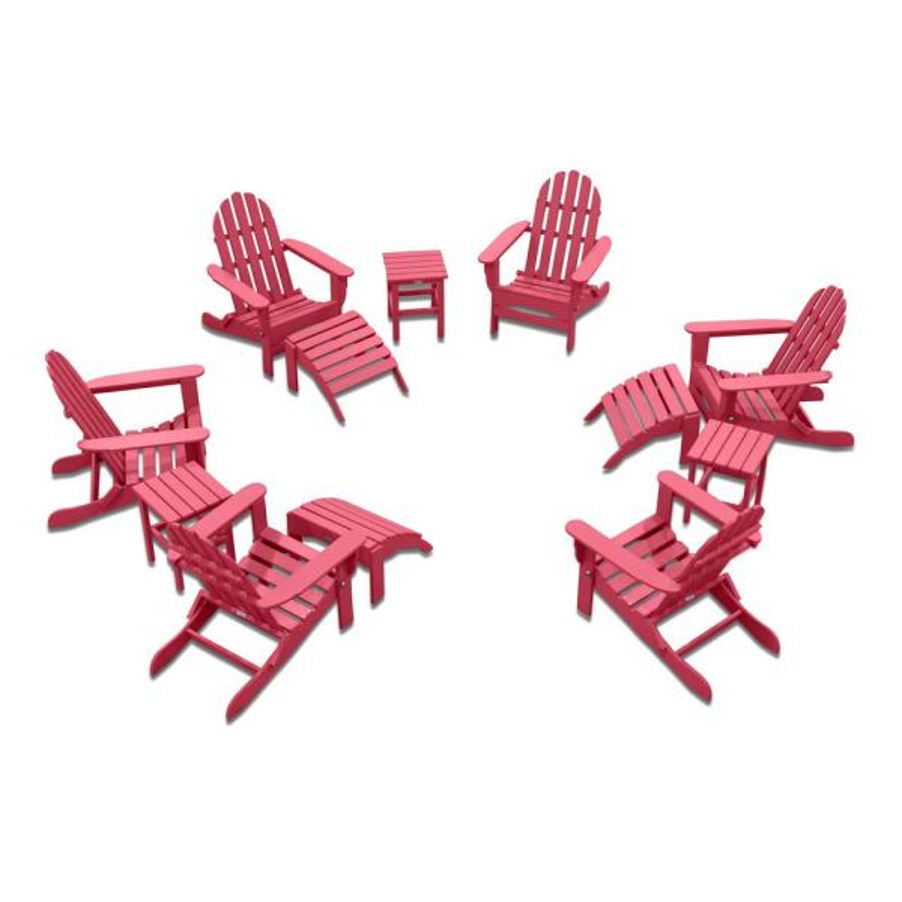 Icon Pink 12-Piece Plastic Adirondack Patio Conversation Seating Set