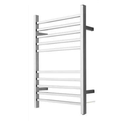 Radiant Square Plug-In 10-Bar Electric Towel Warmer in Polished Stainless Steel