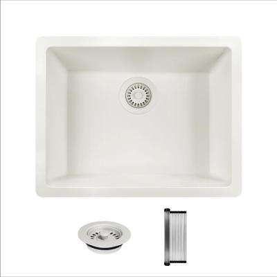 All-in-One Dual Mount Granite Composite 21-5/8 in. Single Bowl Kitchen Sink in White