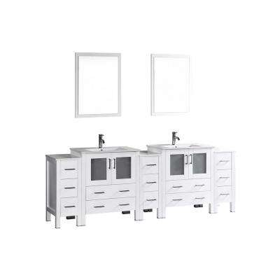Bosconi 96 in. W Double Bath Vanity in White with Ceramic Vanity Top with White Basin and Mirror