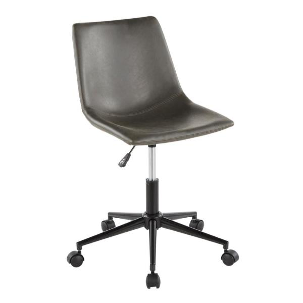 Lumisource Duke Grey Faux Leather Industrial Task Chair Oc Dukz Bk Gy The Home Depot