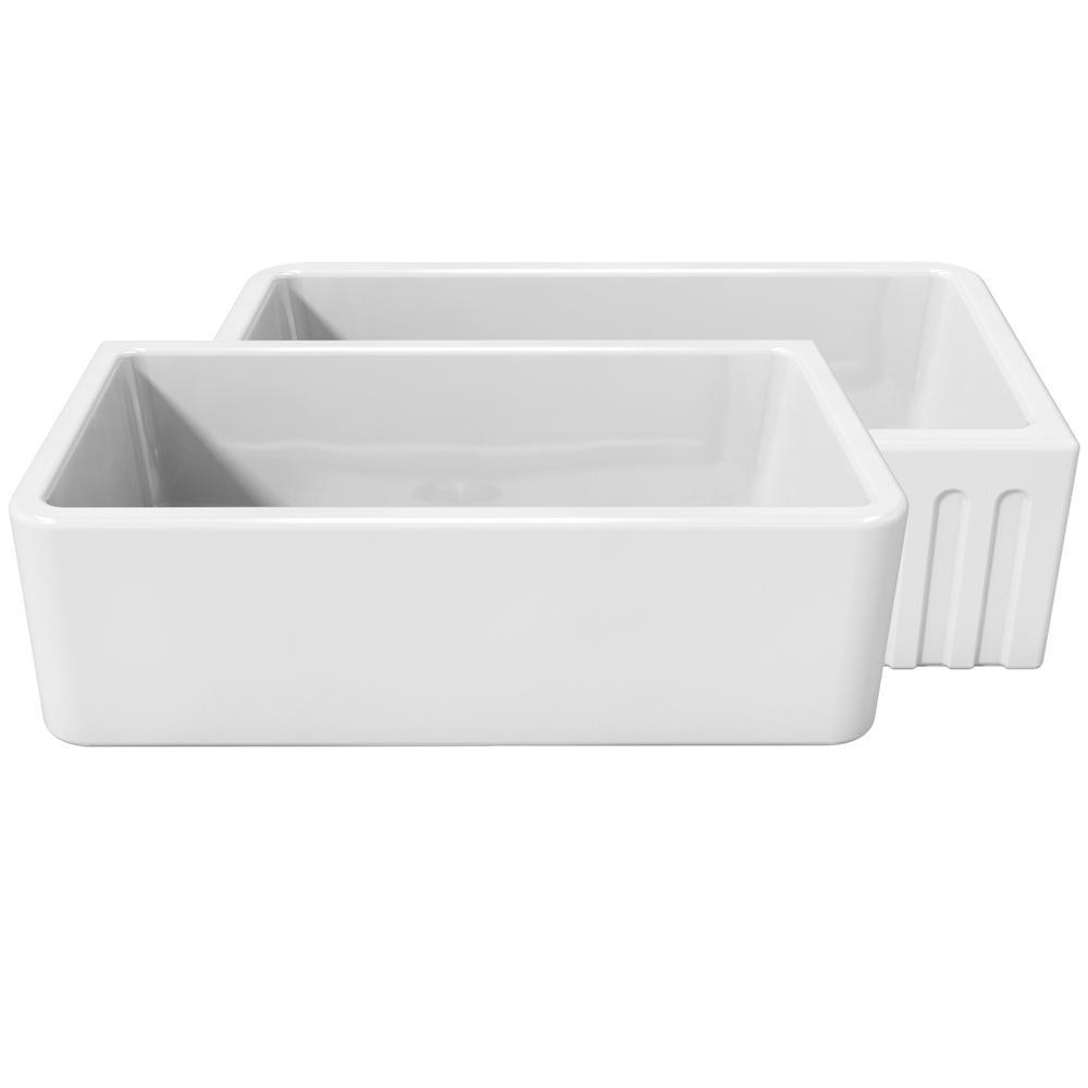 La Toscana Farmhouse Apron-Front Fireclay 33 in. Single Basin Kitchen Sink in White