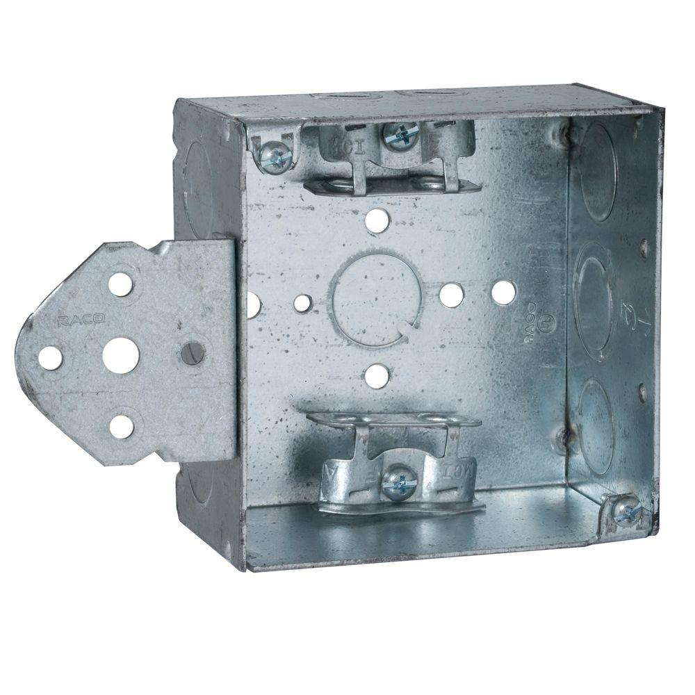 RACO 4 in. Square Welded Box, 2-1/8 Deep w/ 1/2 & 3/4 in. TKO\'s and ...