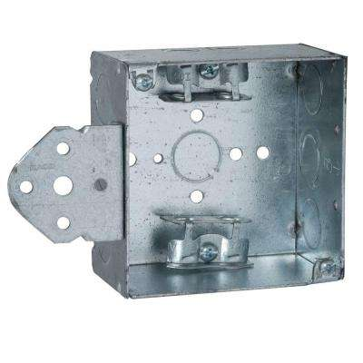 4 in. Square Welded Box, 2-1/8 Deep with 1/2 & 3/4 in. TKO's and Armored Cable/Metal Clad/Flex Clamps and B Bracket
