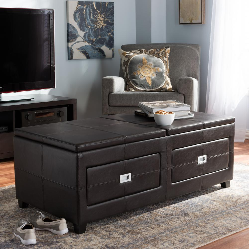 Indy Contemporary Dark Brown Wood Coffee Table