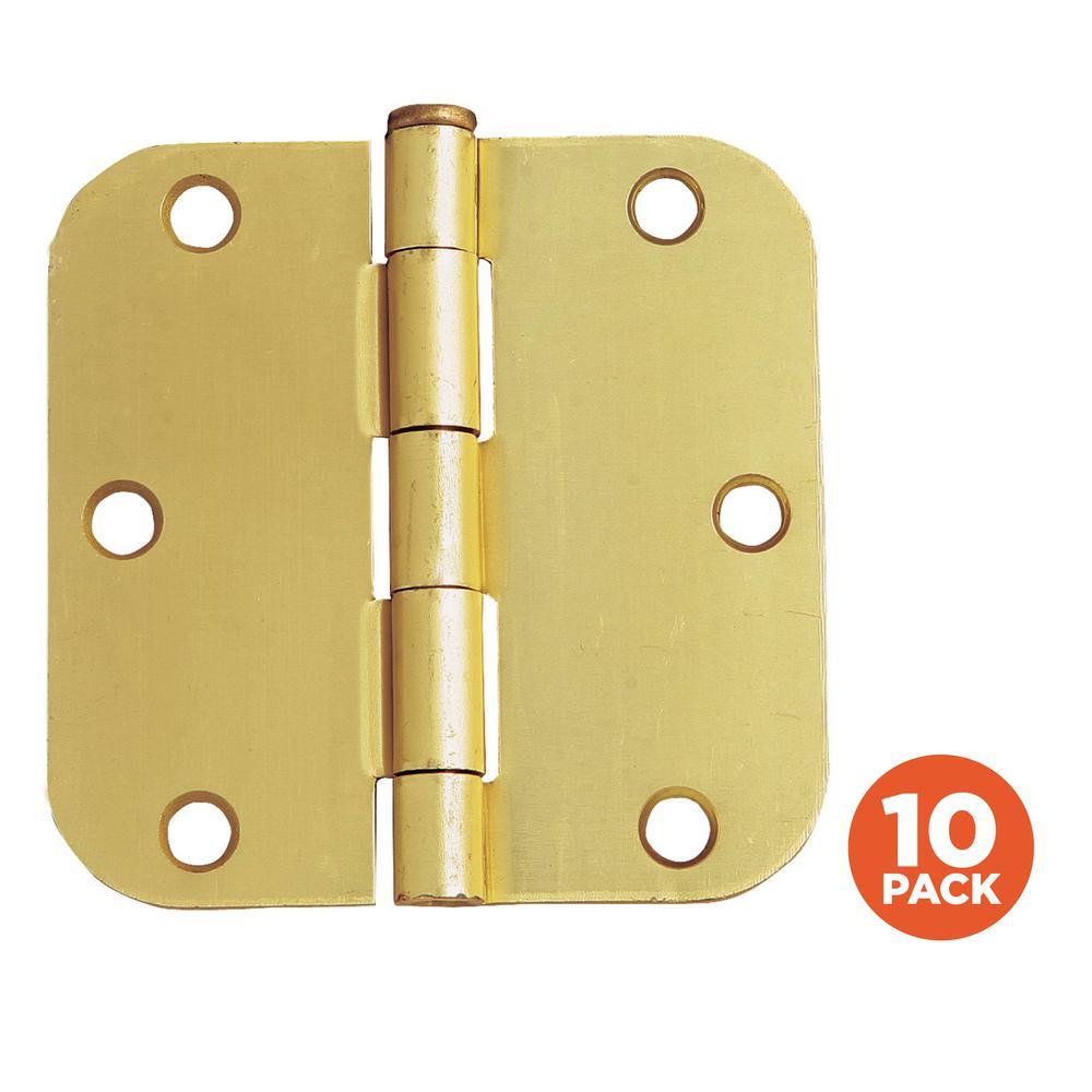 3-1/2 in. x 5/8 in. Radius Satin Brass Door Hinge Value Pack (10 per Pack)
