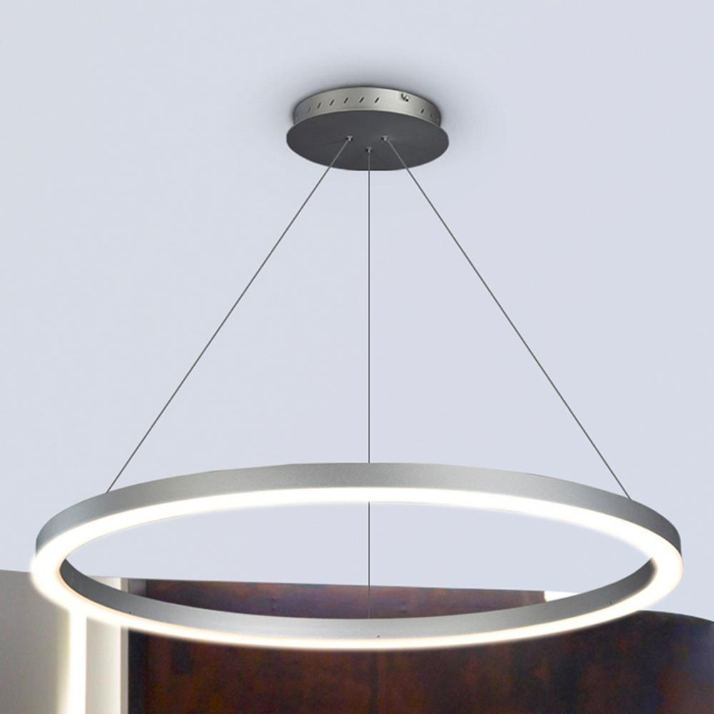 VONN Lighting Tania Collection 36 Watt Silver Integrated LED Adjustable Hanging Modern Circular Chandelier 24