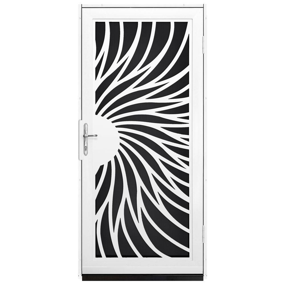 Unique Home Designs 36 in. x 80 in. Solstice White Surface Mount Steel Security Door with Black Perforated Screen and Brass Hardware