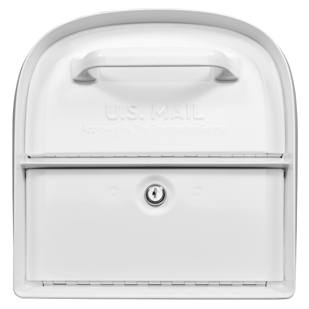 Architectural Mailboxes Oasis 360 White Locking Parcel Mailbox with 2-Access Doors