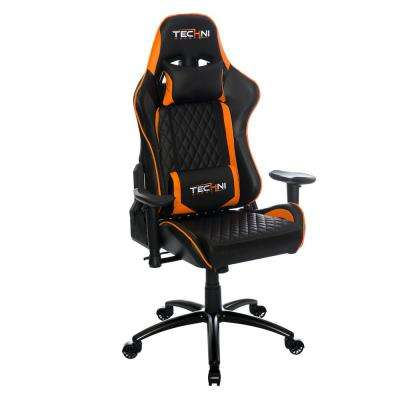 Ergonomic Orange High Back Racer Style Video Gaming Chair