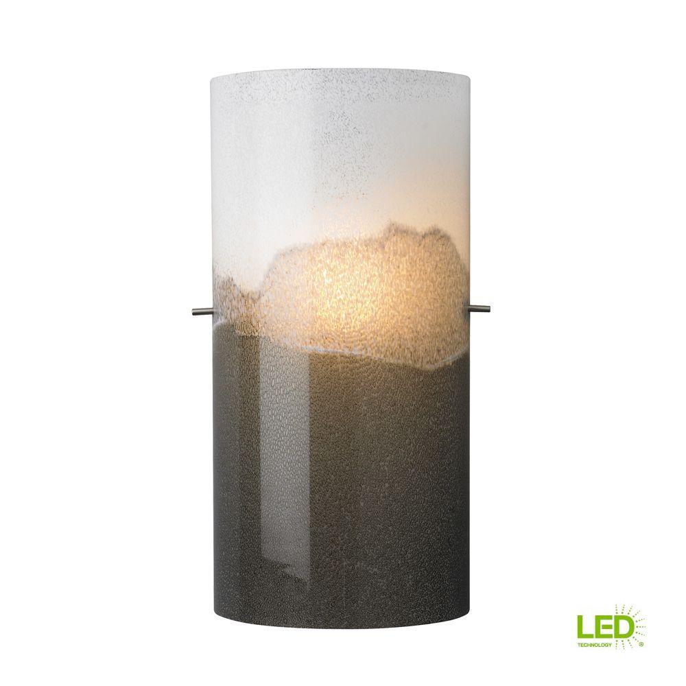 Dahling 1-Light Satin Nickel Gray-Opal LED Wall Light
