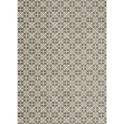 Washable Floral Tiles Rich Grey 5 ft. x 7 ft. Stain Resistant Area Rug