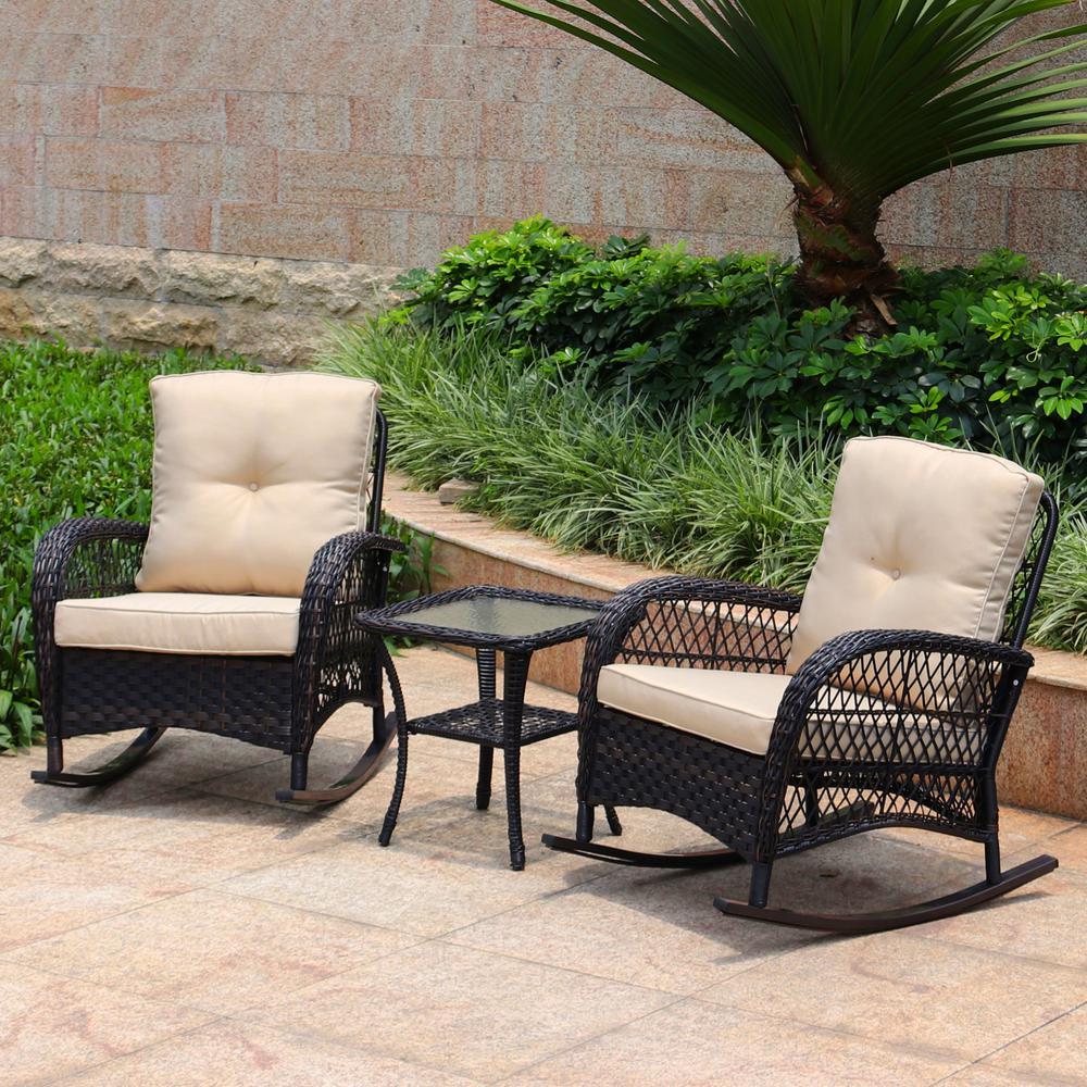 3-Piece Wicker Rocking Patio Conversation Set with Dark Brown Cushions