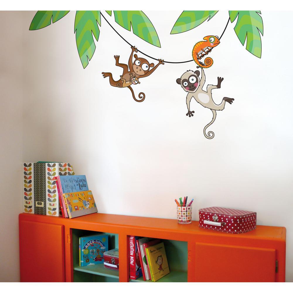 """(60.8 in x 30.8 in) Multi-Color """"Monkeys on a Liana"""" Kids Wall Decal"""