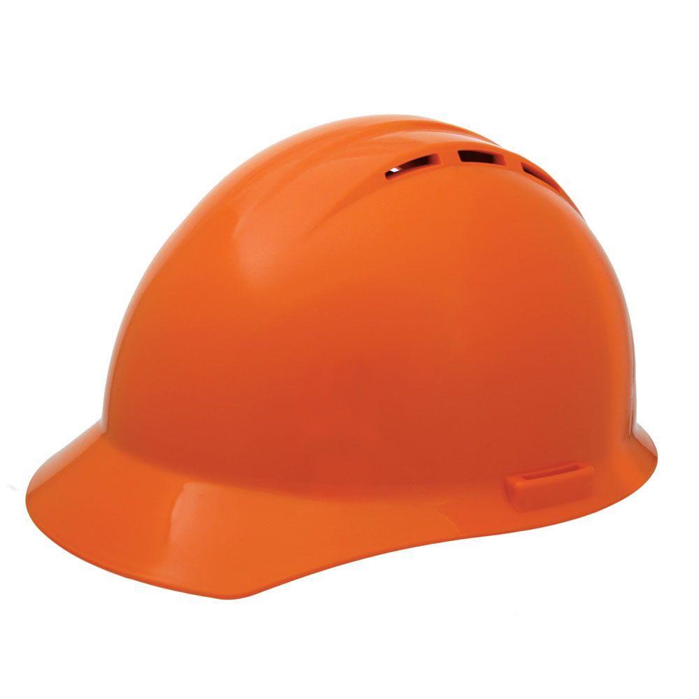 Vent 4 Point Nylon Suspension Mega Ratchet Cap Hard Hat in Hi Viz Orange