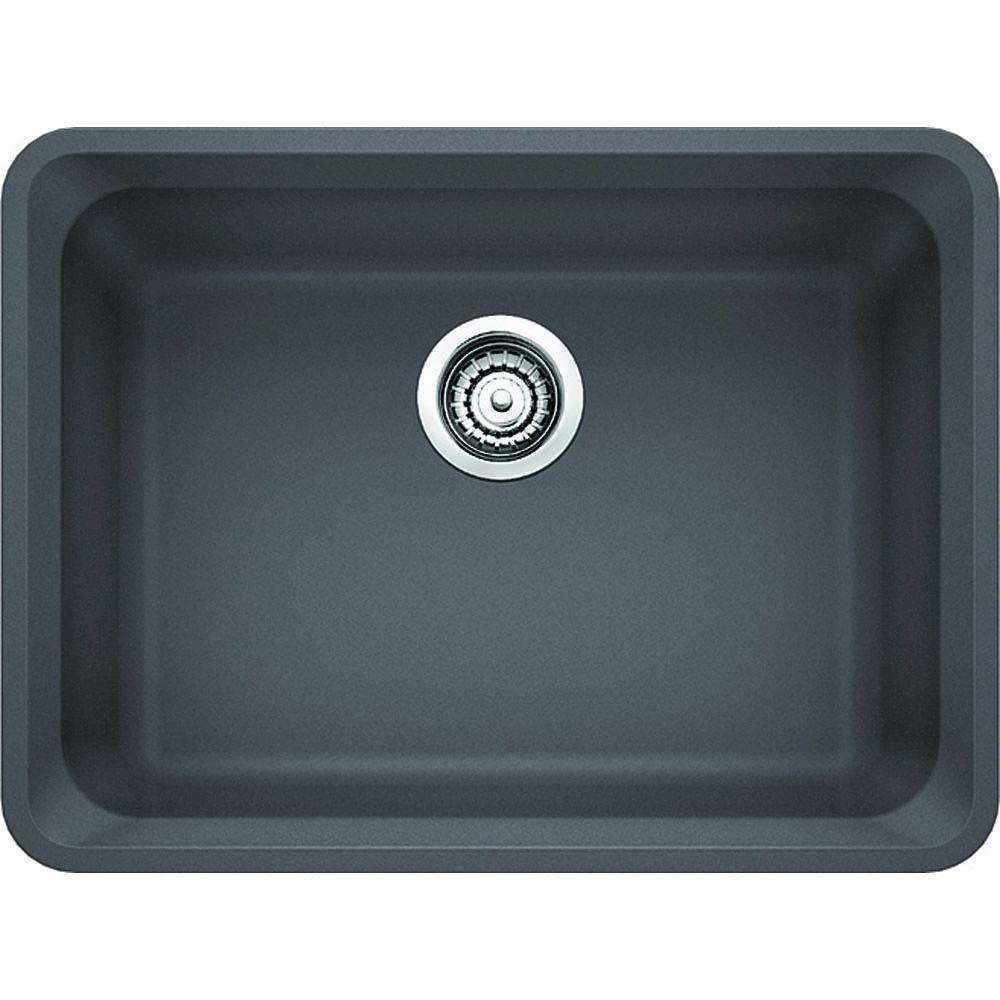 Vision Undermount Granite Composite 24 in. Single Bowl Kitchen Sink in Cinder