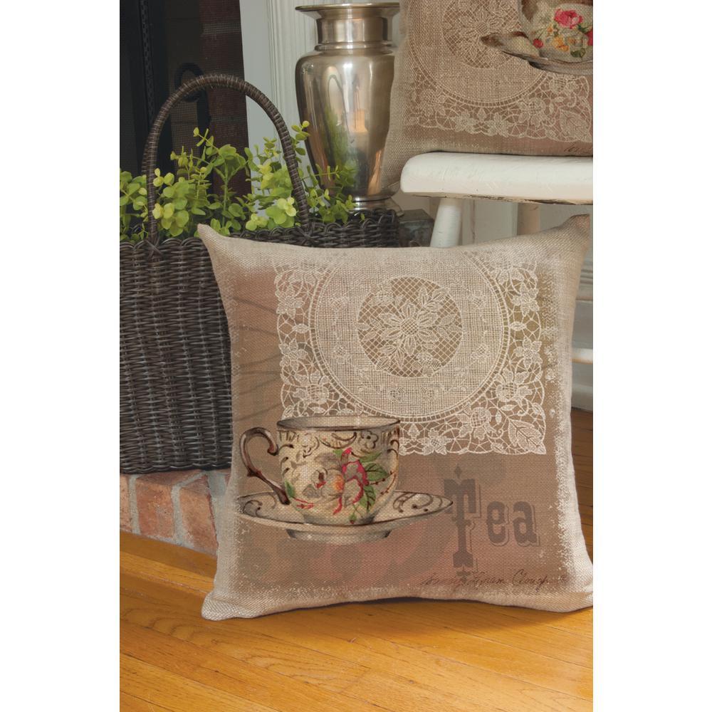 Downton Tea Natural Tea Decorative Pillow