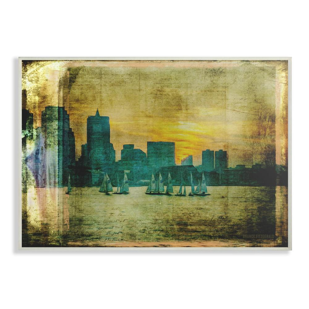 The Stupell Home Decor Collection 10 In X 15 Boston City Skyline Old Photograph By Brandi Fitzgerald Printed Wood Wall Art Cw 1399 Wd 10x15