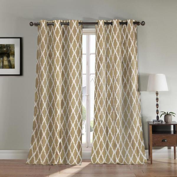 Kittattinny 84 in. L Polyester Blackout Curtain Panel in Taupe (2-Pack)