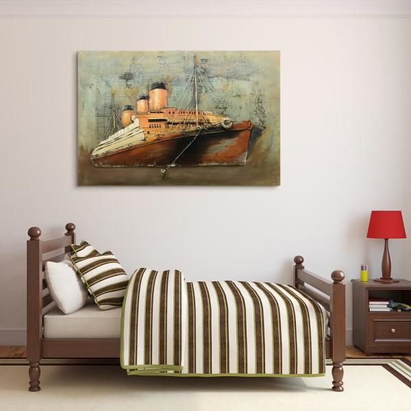 ''Brown ship'' Mixed Media Iron Hand Painted Dimensional Wall Decor PMO-F0978-4832