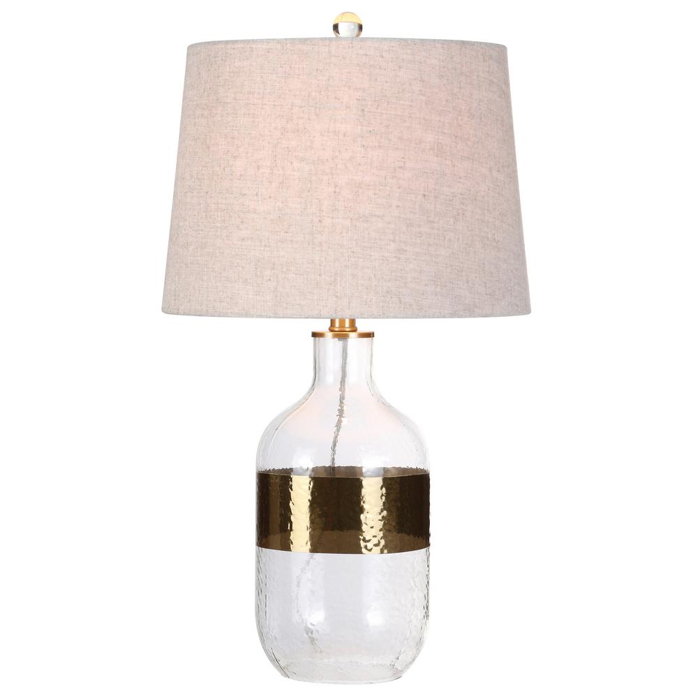 Jonathan Y Stevens 25 5 In H Clear Brass Glass Table Lamp Jyl4001a
