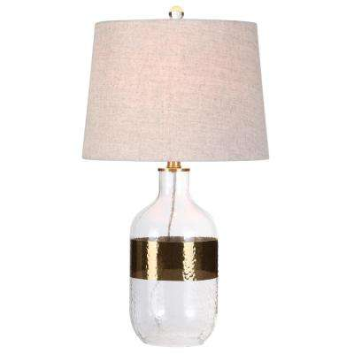 Stevens 25.5 in. H Clear/Brass Glass Table Lamp