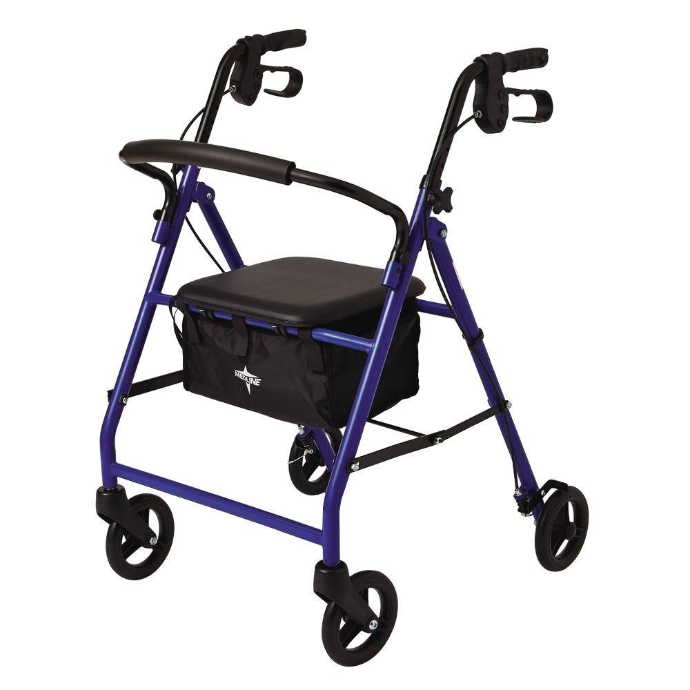 Medline Steel Lightweight Folding 4-Wheel Rollator in Blue