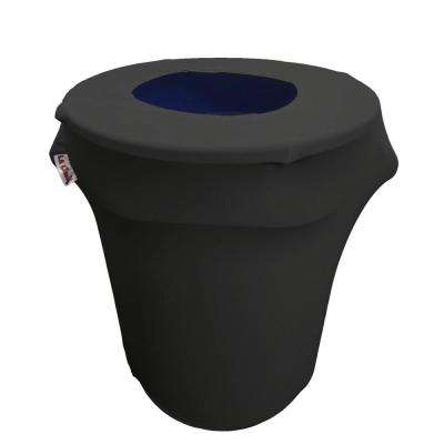 Stretch Spandex Trash Can Cover 32 Gal. Round in Black