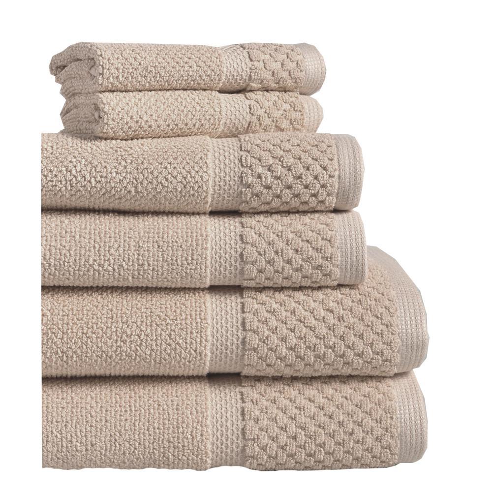 Diplomat 6 Piece 100 Cotton Bath Towel Set In Taupe
