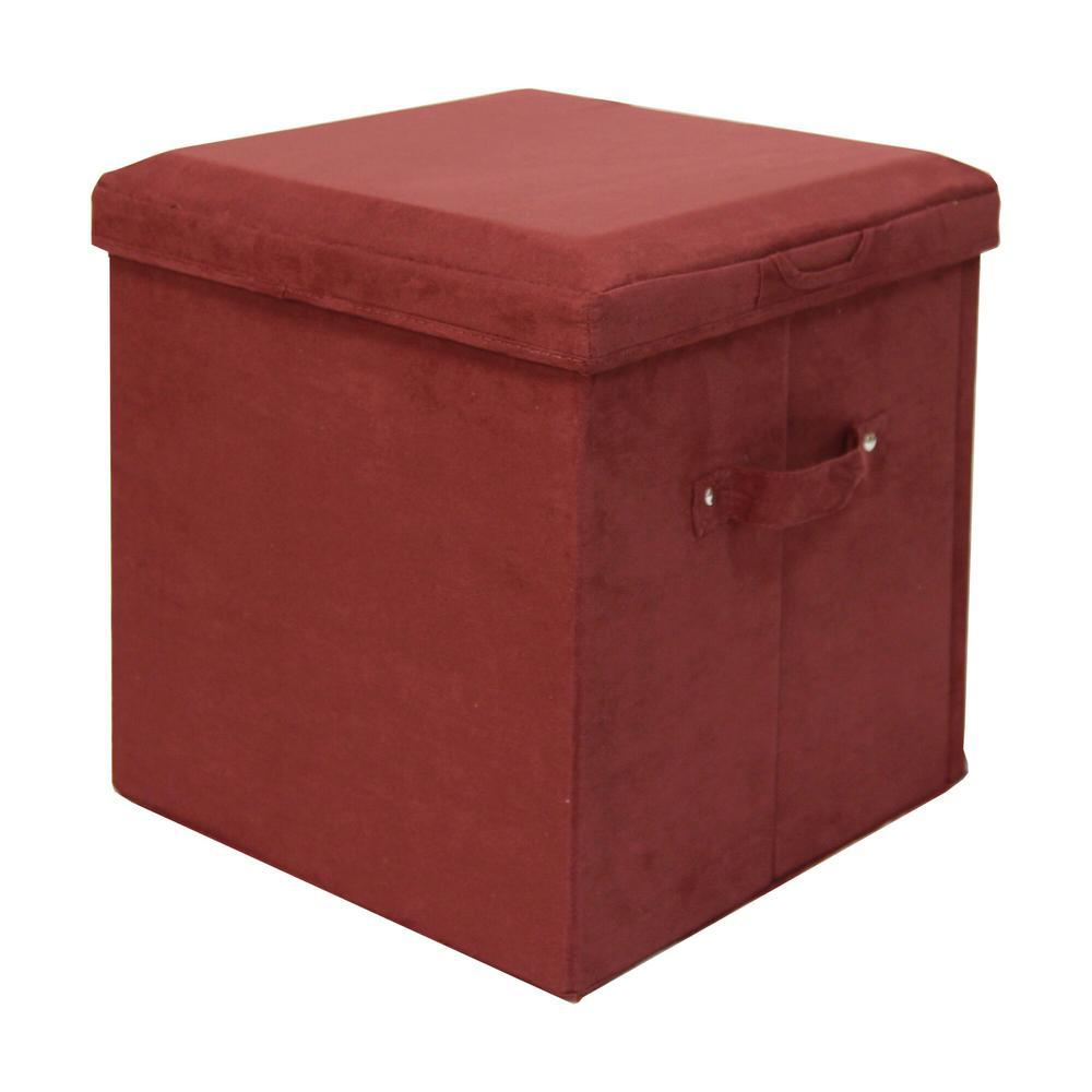 Burgundy Microsuede Seat Pad Folding Storage Ottoman