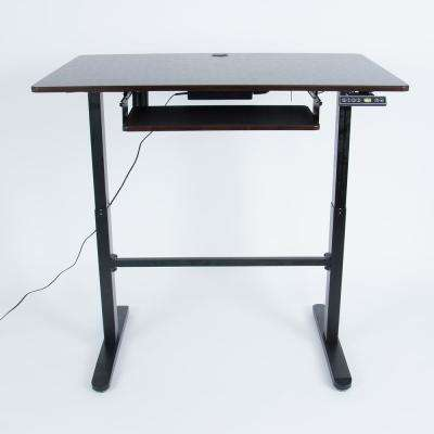 Black Double Pedestal Wood Grain Single Motor Electric Adjustable Stand Desk