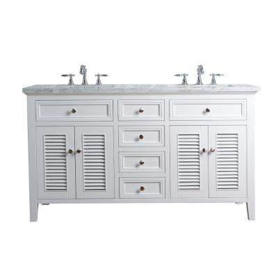 60 in. Genevieve Double Sink Vanity in White with Marble Vanity Top in Carrara with White Basin