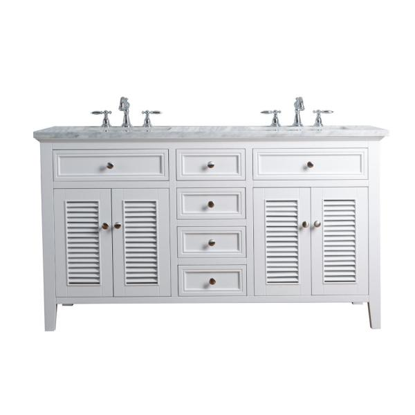 Stufurhome 60 In Genevieve Double Sink Vanity In White With