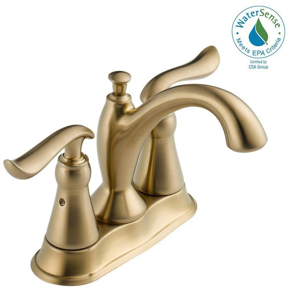 Centerset 2 Handle Bathroom Faucet With Metal Drain Assembly In Champagne