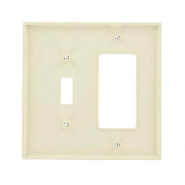 Leviton Decora 2 Gang Midway 1 Toggle Combination Nylon Wall Plate Light Almond R56 Pj126 00t The Home Depot