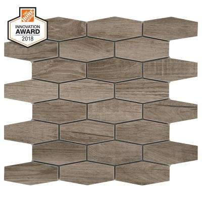 Sierra Wood Linear Hexagon 12 in. x 13 in. x 8mm Glazed Porcelain Mosaic Tile