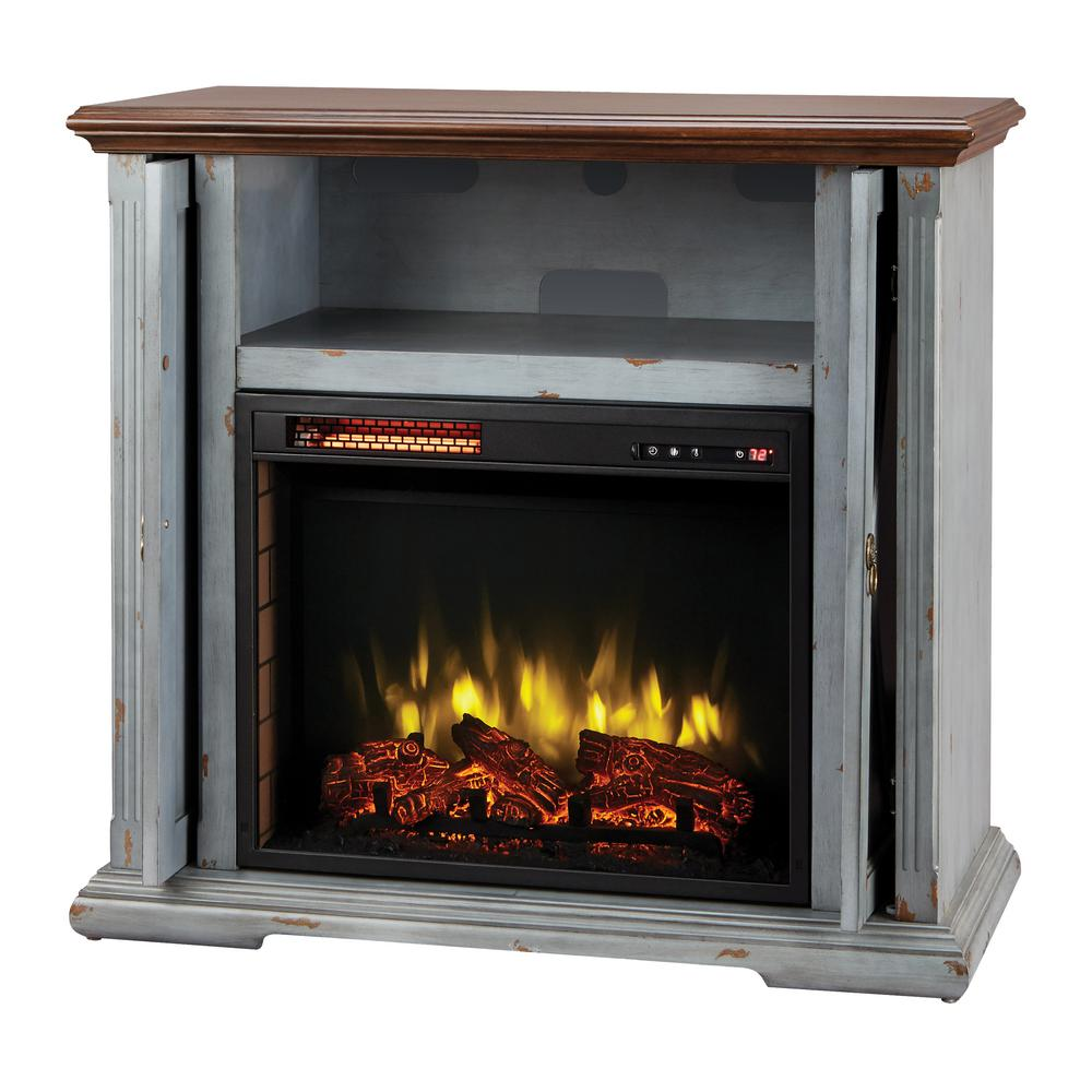 Home Decorators Collection Hamilton 38 In. Infrared Pocket Mantel In Aged  Indigo