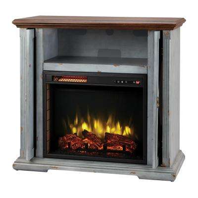 Hamilton 38 in. Infrared Pocket Mantel Electric Fireplace TV Stand in Aged Indigo