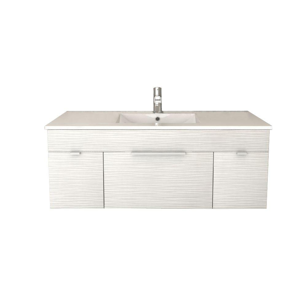 Cutler Kitchen and Bath Textures Collection 48 in. W x 18 in. D x 19 in. H Vanity in Contour White with Acrylic Vanity Top in White with Basin
