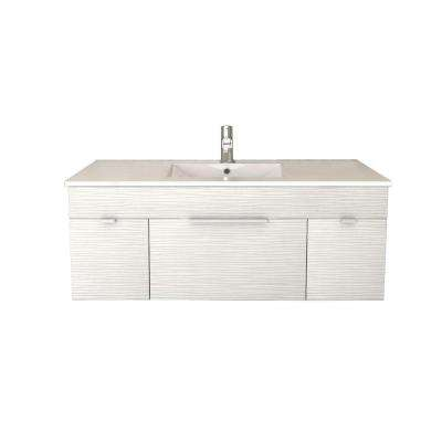 Textures Collection 48 in. W x 18 in. D x 19 in. H Vanity in Contour White with Acrylic Vanity Top in White with Basin
